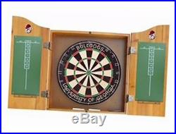 Officially licensed ncaa merchandise dart cabinet set with steel tip bristle