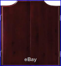 Professional Dart Board Cabinet Set Solid Pine Wood With Bristle Steel Tip Darts