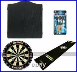 Pub Darts Bundle Cabinet, Dartboard, Oche Mat and Darts Set (Black Cabinet)