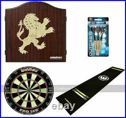 Pub Darts Bundle Cabinet, Dartboard, Oche Mat and Darts Set (Lion Cabinet)