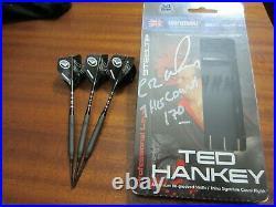 SIGNED Winmau Ted Hankey 14 Gram Atomised Steel Tip Darts RARE