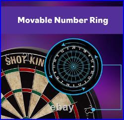 Shot King Regulation Bristle Steel Tip Dartboard Set Includes 6 Darts, Black