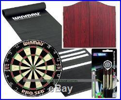 Standard Pub Darts Set Starter Bundle (Rosewood finish Cabinet)