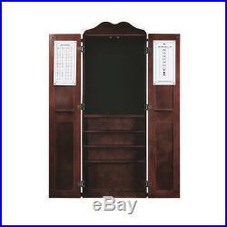 Steel Tip Dart Board & Billiard Cue Cabinet Pkg-English Tudor
