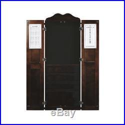 Steel Tip Dart Board and Billiard Cue Cabinet Pkg-Cappuccino