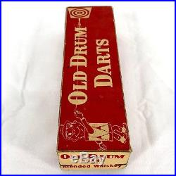 Vintage Wood Darts Steel Tips Turkey Feather Flights Old Drum Whiskey 1930s